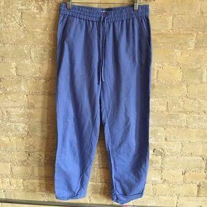 J. Crew blue linen pants with drawstring waist